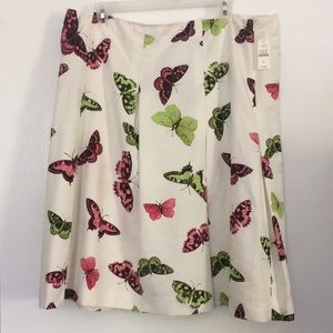 NWT Talbots Butterfly Pleated Skirt